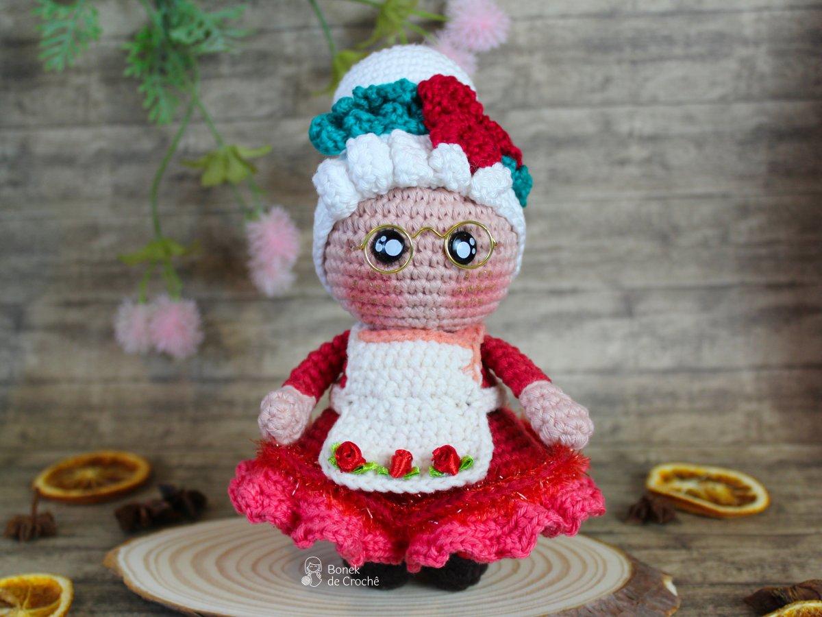Boneca de crochê Mamãe Noel - Paaso a passo